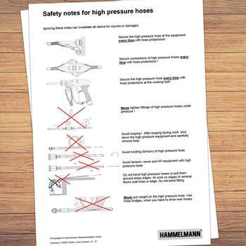 Safety instructions for working with high-pressure hoses